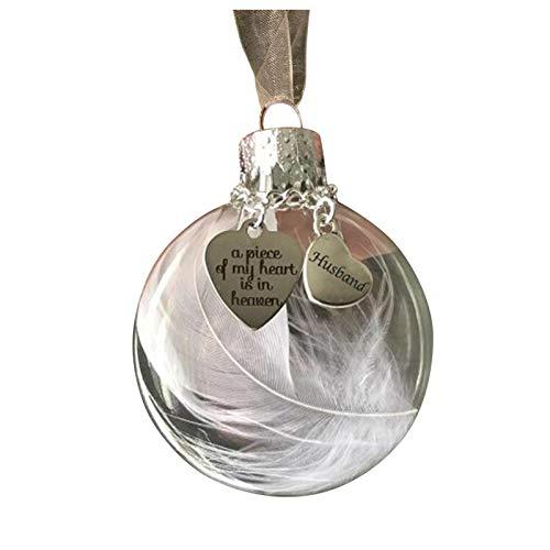 Janly Clearance Sale 1 pieza de forma de corazón de plumas – Un pedazo de mi corazón está en Heave Memorial Ornamento para decoración del hogar para el día de Pascua (A)
