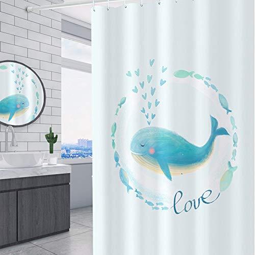 Duschvorhang Waschbare Badezimmer-Vorhang Blauwal Drucken Duschvorhang Datenschutz Anti-Mehltau Antibakteriell Duschvorhang Futter Brett Badezimmer Zubehör ( Farbe : Weiß , Size : 120x180cm )