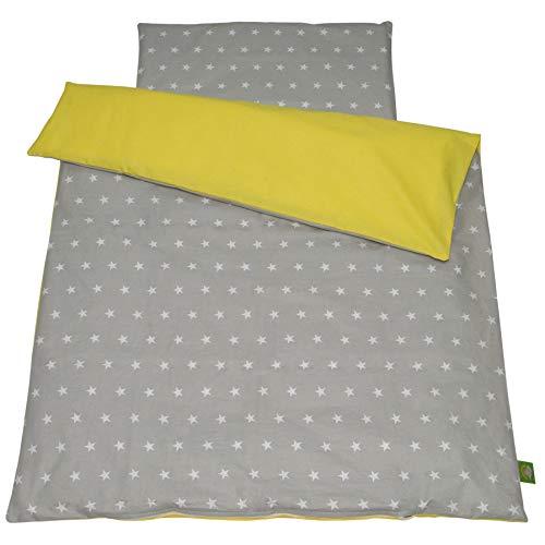Balbina - Juego de ropa de cama reversible para bebé, diseño de estrellas, 100 x 135 cm, funda de edredón de 40 x 60 cm, 2 piezas, 100% algodón, con cremallera, estrellas gris/amarillo)