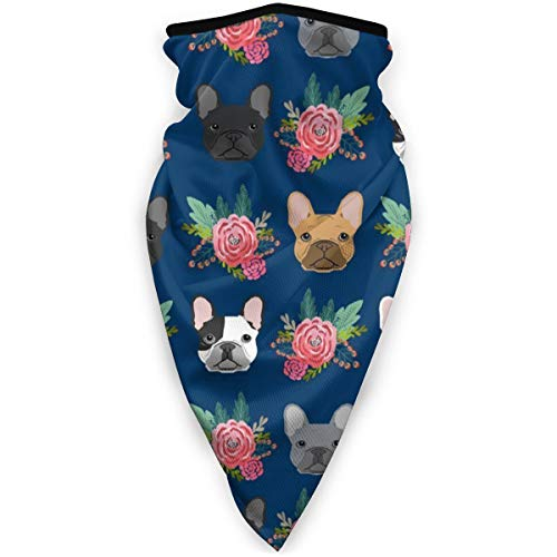 NiYoung Windproof French Bulldog Flowers Face Mask Bandana for Riding Cycling Motorcycle Multifunctional Scarf