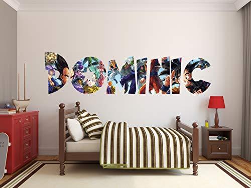Dragon Ball Z Super Custom Name 3D Personalized Wall Decal Sticker Kids Wall Art Vinyl Wall Decal (40'W x 10'H)