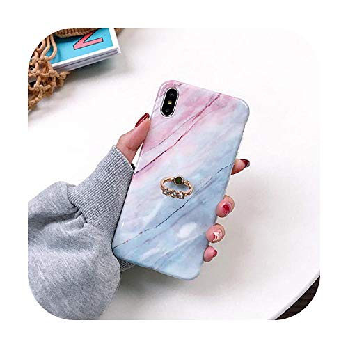 SUSUSUSU - Carcasa de mármol para iPhone 11 Pro Max X XR XS MAX 6 6S 7 8 Plus, anillo de dedo de pie suave IMD cuerpo completo teléfono móvil
