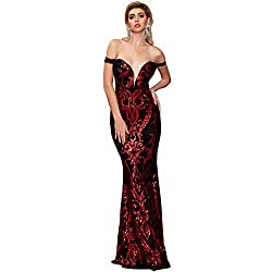 Red Sequin Off-Shoulder Bra & Backless Maxi Evening Party Dress