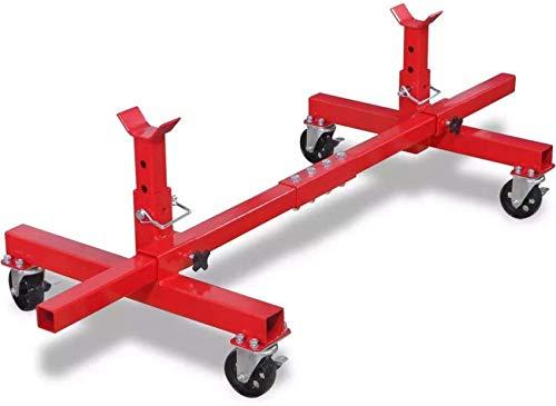 Red Steel Mobile Achsständerheber, höhenverstellbarer Hubwagen Fahrzeuggaragenwerkzeug zum Bewegen Ihrer Fahrzeuge Maximale Belastung 906,5 kg