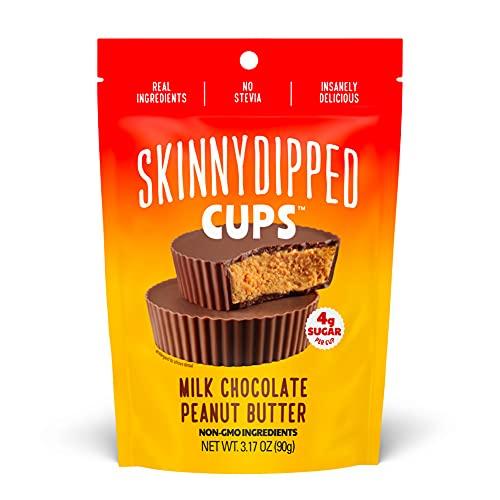 SkinnyDipped Milk Chocolate Peanut Butter Cups, 4g Sugar per Cup, No Stevia, Gluten Free, 3.2oz, 4 Pack
