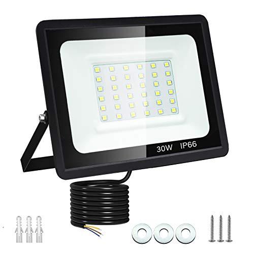30W Faretto LED da Esterno Dersoy Proiettore 2700 lumen Faro LED, Bianco Freddo 6500K Fari LED Moda, Impermeabile IP66 Lampada Luce di Sicurezza Potente Super Luminosa per Giardino Corridoio Cortile