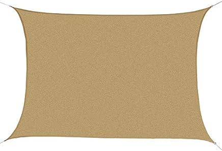 Outsunny Tenda a Vela Parasole Rettangolare Protezione Raggi UV in PE, Sabbia, 4x6m