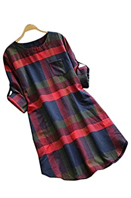 CUPSHE Women's Plaid Round Neck Long Sleeve Dress