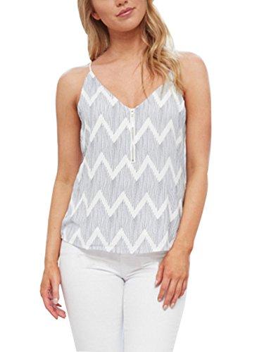YOINS - Camiseta sexy para mujer, diseño de flores, cuello redondo Striscia-02 32/34 EU (XS)