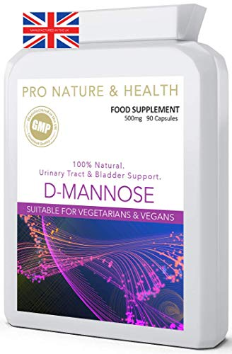 D-Mannose 500mg x 90 Capsules | 100% Natural | Minimal Impact On Your Blood Sugar | High Strength Natural D-Mannose Supplement | Manufactured in The UK