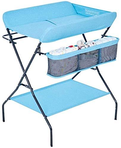 ZWJ Mesa para Cambiar Pañales Cambiador de Pañales Estación De Pañales De La Mesa De Cambio Plegable, Multifunción Portable Niños Pañering Nursering Organizador para Bebés (Color : Blue)