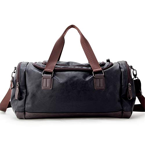 Gym Sports Duffle Bag Outdoor Travel Bag PU Leather Hiking Bags Hand Luggage for Men Portable and Durable (Color : Black, Size : 49x25x22cm)
