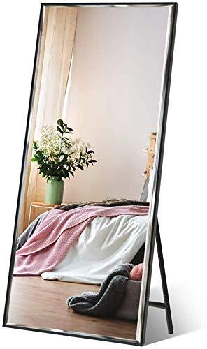 Amazon Brand - Eono Espejo de Cuerpo Enterno 165x61cm con Marco Negro, Espejo Grande de Pie o de Pared, Apto para Baño, Salon y Recibidor, Inastillable