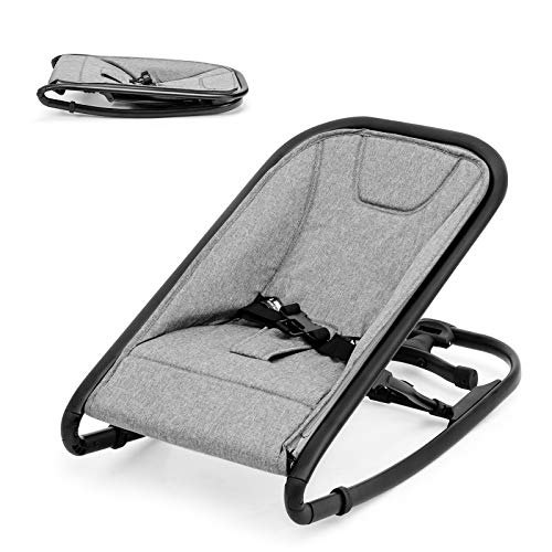 BABY JOY 2 in 1 Baby Rocker, Portable Baby Bouncer Seat w/ 2 Adjustable Recline Positions, Folding Infant Bouncer Seat w/ 2 Modes of Use for Newborn Babies, 33 LBS Weight Capacity (Light Gray)