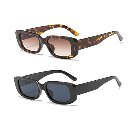 YAMEIZE Rectangle Sunglasses for Women Men 2 Pack 90's Vintage Driving Square Small Glasses UV400 Protection (Black+Leopard)