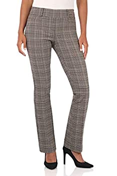 Rekucci Women s Ease in to Comfort Fit Barely Bootcut Stretch Pants  8,Neutral Tartan