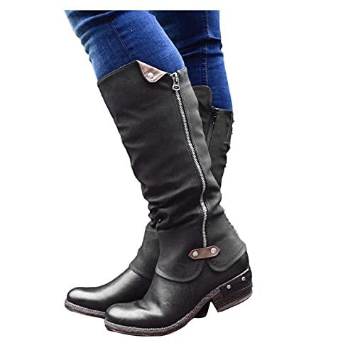 WEIBM Moda para mujer Botas largas cálidas informales Botas altas Tacones bajos Zapatos con cremallera