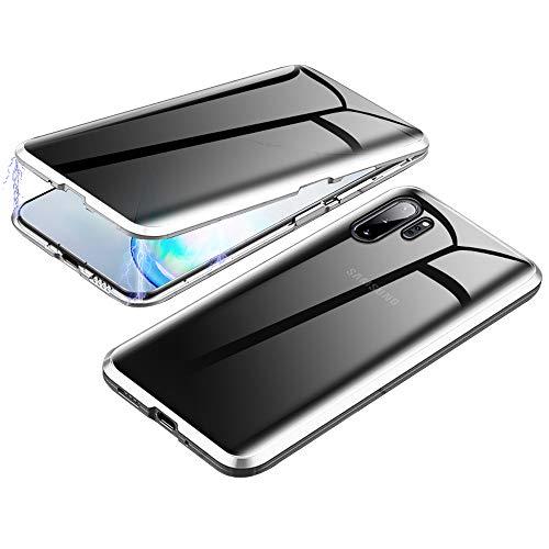 Jonwelsy Anti-Spy Funda para Samsung Galaxy Note 10+ 5G, 360 Grados Proteccion Case, Privacidad Vidrio Templado Anti espía Cover, Adsorción Magnética Metal Bumper Cubierta para Note 10 Plus (Plata)