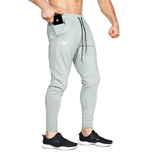BROKIG Mens Lightweight Gym Jogger Pants,Men's Workout Sweatpants with Zip Pocket(Light Gray,Large)