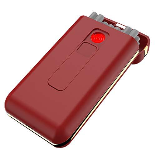 BNMY Zigarettenetui Mit Feuerzeug Zigarettenschachtel Tragbar 20 Stück 100S Slim Cigarettes USB-Feuerzeuge 2 in 1 Wiederaufladbares Flammenloses Winddichtes Elektrisches Feuerzeug,Rot