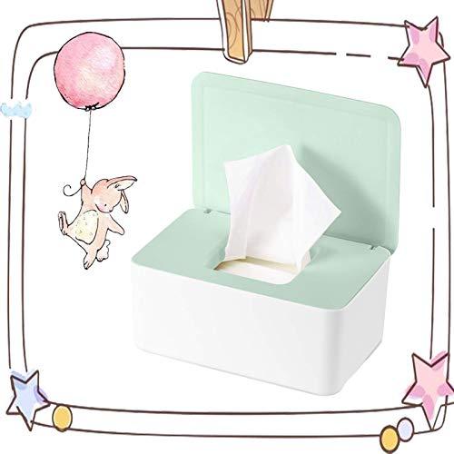Feuchttücher-Box,Baby Feuchttücherbox,Tissue Aufbewahrungskoffer, für trockene und nasse Seidenpapier, Serviettenhalter, Feuchttücher, Spenderhalter mit Deckel für Zuhause und Büro (Grün)