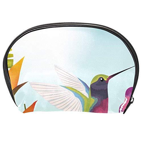 Bennigiry Trousse de toilette multifonction pour femme Motif jardin tropical et exotique avec colibri
