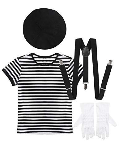 MSemis Disfraz Artista Francés Mimo para Niños Niñas Cosplay Mime Camiseta Gorra Boina Tirantes y Guantes Unisex Traje Disfraces 4Pcs Fiesta Halloween Navidad
