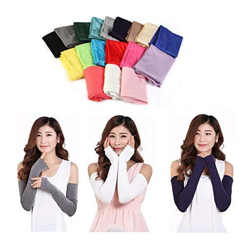 Willlly Chic Vrouwen Katoen Uv Bescherming Arm Casual Chic Warm Lange Vingerloze Handschoenen Auml Mouw Wanten Vingerloos
