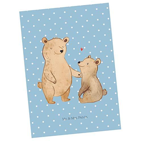 Mr. & Mrs. Panda cadeaubon, uitnodiging, Ansichtkaart Beer Grote Broer - Kleur Blauwe Pastel