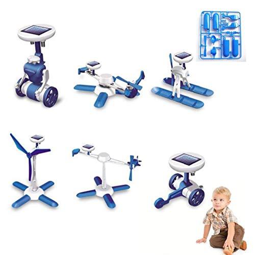 Deanyi 1Pack 6 in 1 Solar Powered Robot Kit Bambini DIY Giocattolo Solare Giocattoli educativi del crogiolo di Automobile Fan Modello Regalo di Compleanno per i Bambini