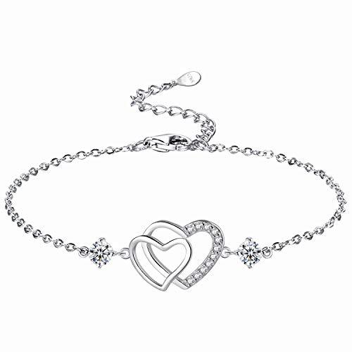 L.Adorer Herz Armband Damen Mädchen,Armkette Armbändchen Verstellbar, 925 Sterling Silber,5A Zirkonia,Schmuck Frauen