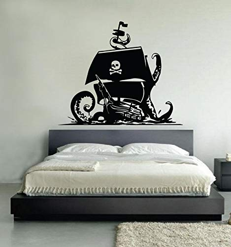 supmsds Piratenschiff Wandkunst Aufkleber, Knochen Stil Piratenschiff Wandaufkleber Startseite Wohnzimmer Tapete Entfernbare Wandaufkleber96X79CM