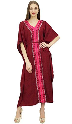 Bimba Vestido Maxi de Kimono Marron de Mujer Vestido Largo de Kaftan de Trabajo de Aari de Trabajo A-46