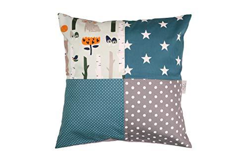 ULLENBOOM ® patchwork kussenhoes l 40x40 cm l ideaal als sierkussen voor de kinderkamer en babykamer I bosdieren petrol