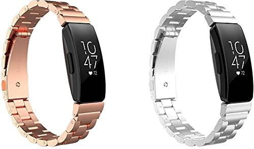 Correa de Reloj Compatible con Fitbit Inspire/Inspire HR / ACE2, Correa de Repuesto de Cuero para Hombres Correa de Hebilla de Acero Inoxidable (Pattern 2+Pattern 4)