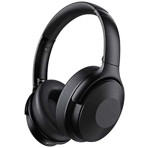 Cuffie Cancellazione Attiva del Rumore con 45 ore, Wireless 5.0 Cuffie sopra l'orecchio con microfono, Bassi profondi 3D, ricarica rapida, padiglioni in memory foam per bambini, TV, viaggi