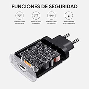 AUKEY Quick Charge 3.0 Cargador de Red 18W [Qualcomm Certificado] Cargador Móvil para Samsung Galaxy S8 / Note 8, LG G5, Nexus, HTC, iPhone XS / iPhone XS Max / iPhone XR, iPad Pro/ Air, Moto G4 y más