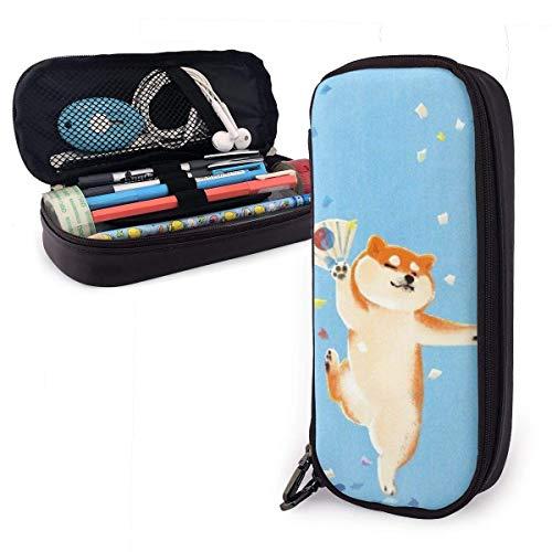 Estuche Escolar de Gran Capacidad, Bolsa de Lápiz Organizador para Material Papelería con Cremallera Doble Divertido perro Shiba Inu para Hombre Mujer Estudiante en Escuela Oficina