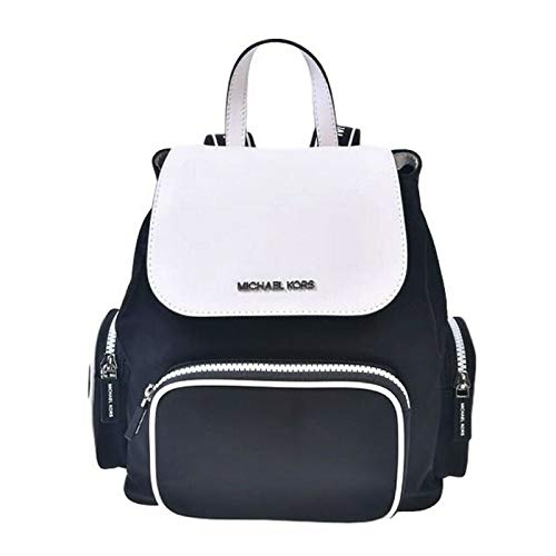 MICHAEL Michael Kors Medium Abbey Cargo Backpack in Black/White Nylon and Leather