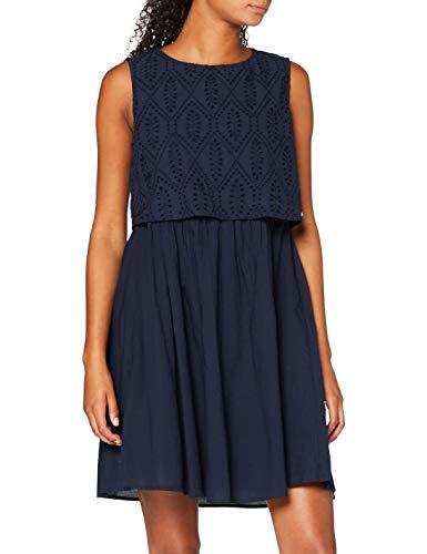 TOM TAILOR Denim Damen Schiffli Mix Kleid, 10360-Real Navy Blue, XXL