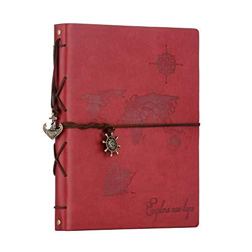 ZEEYUAN Álbum Fotos 22x27.3cm,Scrapbook Cuero Retro Viaje Mapa Mundial Libro Álbum Scrapbooking...