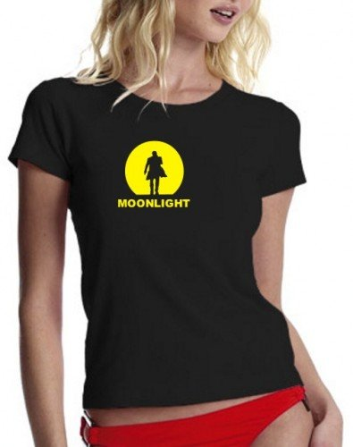 Coole-Fun-T-Shirts Moonlight T-Shirt schwarz/gelb/Girly Alex O'Loughlin GR.XL
