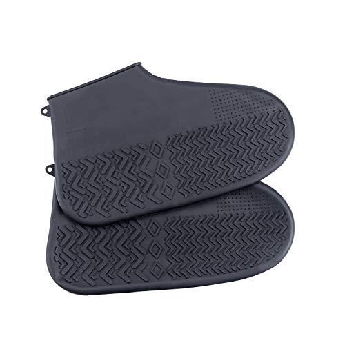 MINI LOP Silikon-Überschuhe für Regenschuhe, wiederverwendbar, Regenschuhe, Schneeschuhe für Herren, Damen und Kinder, Schwarz - Schwarz - Größe: Large