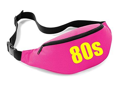 80s Belt Bag available in black or pink. Adjustable strap. Ideal for 80s Rewind, retro festivals, concerts etc.