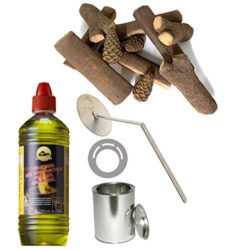 Moritz Starter Set 1 x 1000 ml brandgel + 3x blikken doos 500 ml met deksel + 1x vlammenkiller + 3x spaarplaat + 11-delige keramische houten set voor brander open haard oven veiligheidsbrander brandpasta