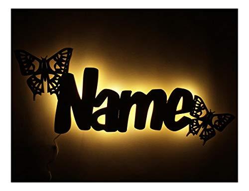 Schlummerlicht24 Led 3d Nachtlicht Blume-n Muster ein Schmetterling mit Name-n, Mädchen Baby Frau-en Geschenk-e für Kinder-Zimmer, als Deko-Lampe