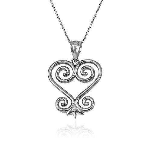 Sterling Silver African Adinkra Sankofa Heart Pendant Necklace (18' Necklace)