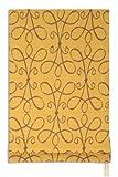 KAATEN - Estor Plegable con Varillas - Modelo Lino - Color Mostaza y Dibujos Marrón - Medida 75x175