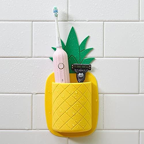 Zahnbürstenhalter Ohne Bohren Selbstklebend, Aufbewahrung, Behälter, Organizer aus Silikon für Badezimmer Küche Zahnbürsten Zahnpasta Erwachsene Kinder Wand Montiert-Ananas