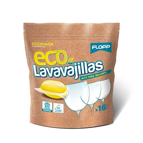 FLOPP - Lavavajillas Ecológico, | Cápsulas Lavavajillas Eco Brillo Envase Biodegradable (16 Capsulas). Lavavajillas Eco Limpia sin Ensuciar el Planeta.